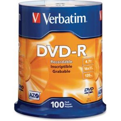 Picture of Verbatim AZO DVD-R 4.7GB 16X with Branded Surface - 100pk Spindle