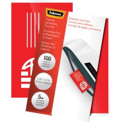 Picture of Fellowes Glossy Pouches - Business Card, 5 mil, 100 pack
