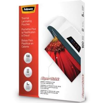 Picture of Fellowes Glossy SuperQuick Pouches - Letter, 5 mil, 100 pack