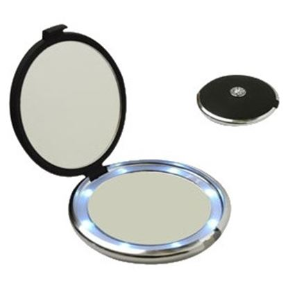 Picture of Floxite Lighted Jeweled 10x/1x Compact Mirror with Crystals