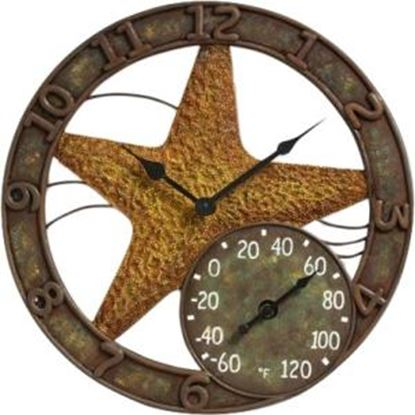 """Picture of Springfield 14"""" Polystone Starfish Clock and Thermometer"""