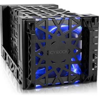 Picture of Icy Dock Black Vortex MB174U3S-4SB Drive Enclosure Serial ATA/600 - eSATA Host Interface External - Black
