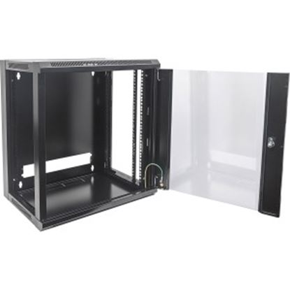 Picture of Intellinet Network Solutions 19 Inch Wallmount Cabinet, 12U, 17.7 Inch (450 mm) Depth, Black, Flatpack