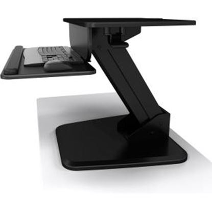 Picture of Atdec Sit to Stand Freestanding Workstation - A-STSFB- Height Adjustable Gas-strut Assistance Keyboard and Mouse Tray - Black