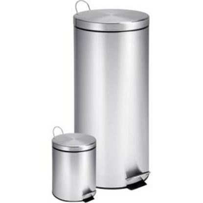 Picture of Honey-can-do TRS-01886 Dual Pack Stainless Steel Step Trash Can, Round