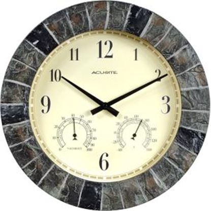 Picture of AcuRite 14-inch Faux Slate Outdoor Clock with Thermometer and Humidity