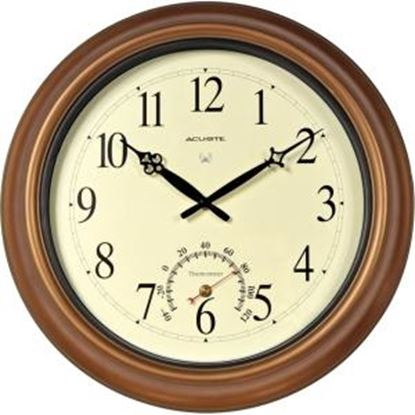 Picture of AcuRite 18-inch Atomic Metal Copper Outdoor Clock with Thermometer