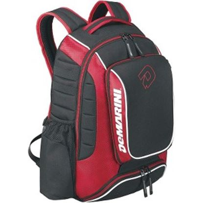Picture of DeMarini Momentum Carrying Case (Backpack) Bottle, Gear, Cellular Phone, Bat, Shoes, Helmet, Glove - Black