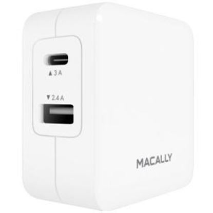 Picture of Macally 24 watt 2 Port USB-C and USB-A Wall Charger