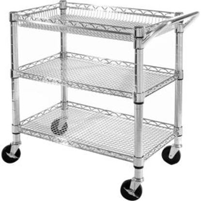 Picture of Seville 3-Shelf Heavy-Duty Commercial Utility Cart - UltraZinc