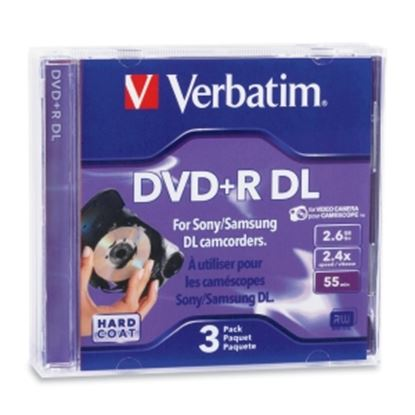 Picture of Verbatim 95313 DVD Recordable Media - DVD+R DL - 2.4x - 2.60 GB - 3 Pack Jewel Case