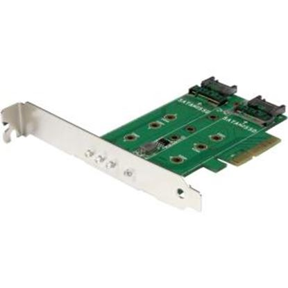 Picture of StarTech.com 3-Port M.2 SSD (NGFF) Adapter Card - 1 x PCIe (NVMe) M.2, 2 x SATA III M.2 - PCIe 3.0 - PCI Express 3.0 M.2 NGFF Card