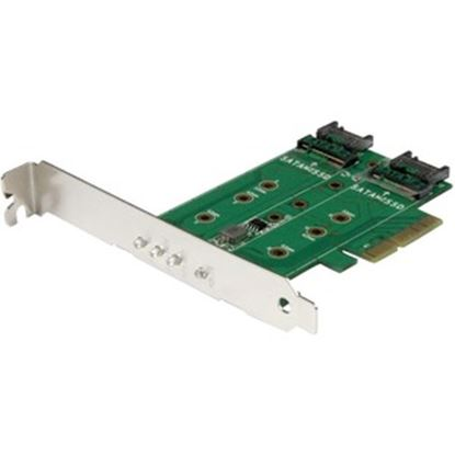 Picture of StarTech.com M.2 Adapter - 3 Port - 1 x PCIe (NVMe) M.2 - 2 x SATA III M.2 - SSD PCIE M.2 Adapter - M2 SSD - PCI Express SSD