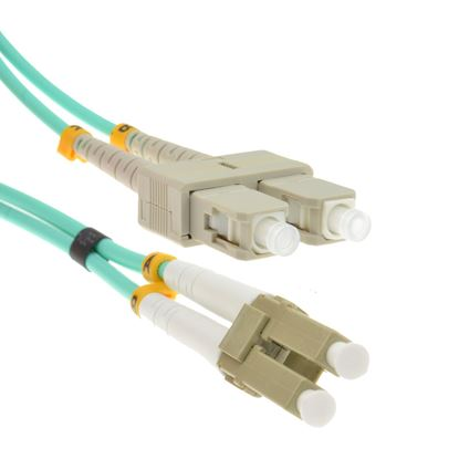 Picture of INFRA Brand - 1 METER - 10GB MULTIMODE LC/SC DUPLEX 50/125 FIBER PATCH CABLE (MALE TO MALE) - Lifetime Warranty