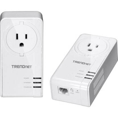 Picture of TRENDnet Powerline 1300 AV2 Adapter With Built-in Outlet Adapter Kit, Includes 2 x TPL-423E Adapters, IEEE 1905.1 & IEEE 1901, Gigabit Port, Range Up To 300m (984 ft), White, TPL-423E2K