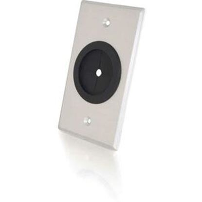 Picture of C2G 1.5in Grommet Cable Pass Through Single Gang Wall Plate - Brushed Aluminum
