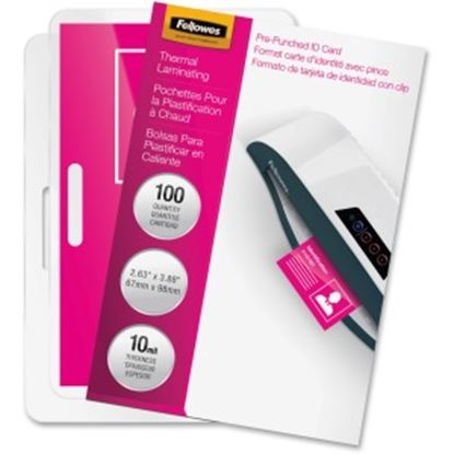 Picture of Fellowes Glossy Pouches - ID Tag punched, 10 mil, 100 pack
