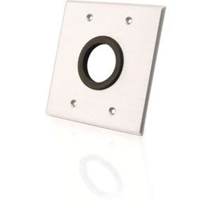 Picture of C2G 1.5in Grommet Cable Pass Through Double Gang Wall Plate - Brushed Aluminum