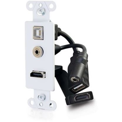 Picture of C2G Decorative HDMI Wall Plate with USB and 3.5mm White