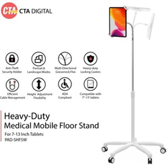 Picture of CTA Digital Heavy-Duty Medical Mobile Floor Stand for 7-13-Inch Tablets - White