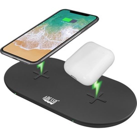 Picture of Adesso 15W Max Dual Wireless 2 Coils Qi-Certified Fast Charging Pad
