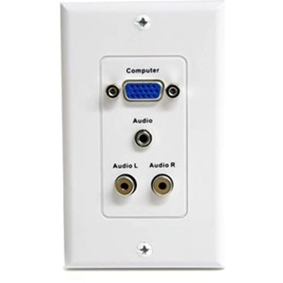 Picture of StarTech.com 15-Pin Female VGA Wall Plate with 3.5mm and RCA - White
