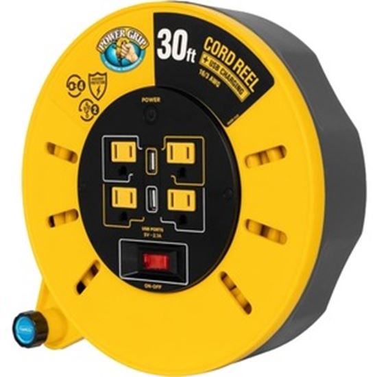 Picture of Camco Power Grip 30-Foot Extension Cord Reel with USB Charging Ports