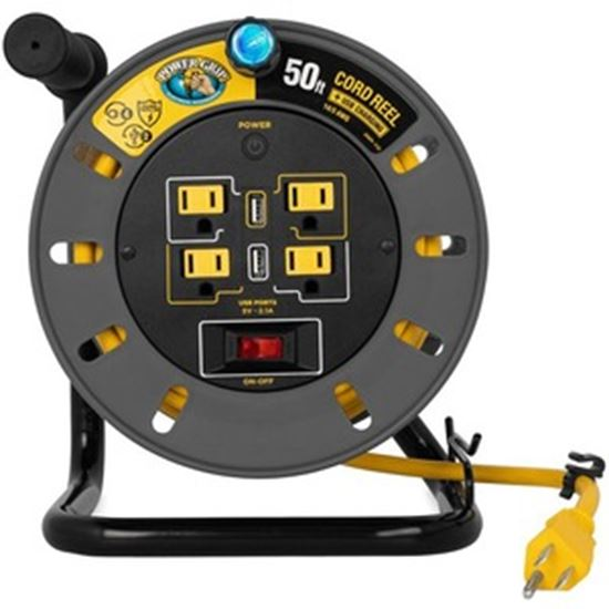 Picture of Camco Power Grip 50-Foot Extension Cord Reel with USB Charging Ports