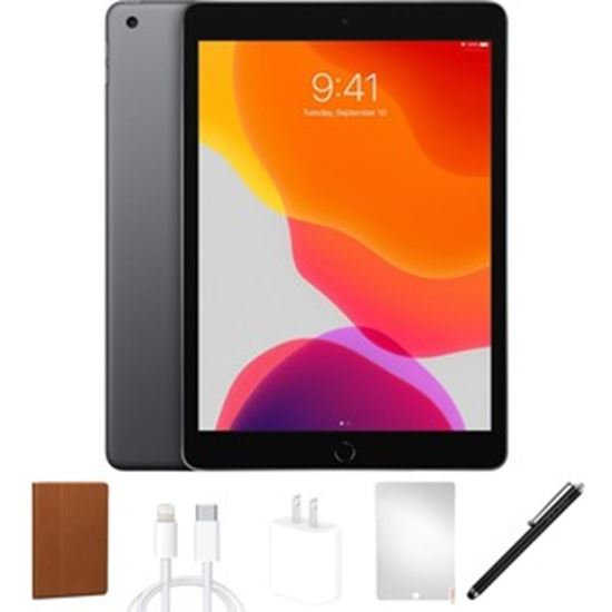 Picture of Refurbished Apple iPad 7 (7th Gen, 2019), 32GB, Space Gray, WiFi, Bundle only from eReplacements, 1 Year Warranty from eReplacements. (A2197, MW742LL/A, IPAD7SG32) Bundle Includes: Universal Tablet Case (color may vary), Screen Protector, Stylus pen, UL compliant non-OEM charging block (10W-12W), MFi (Made For iPad) compliant non-OEM charging cable.