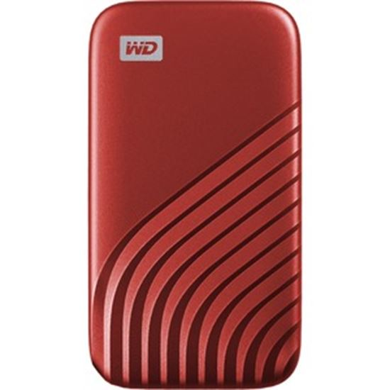 Picture of WD My Passport WDBAGF0010BRD-WESN 1 TB Portable Solid State Drive - External - Red