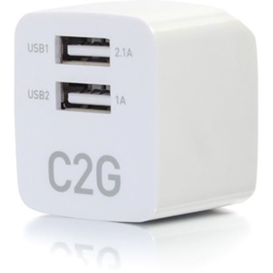 Picture of C2G 2-Port USB Wall Charger - AC to USB Adapter - 5V 2.1A Output