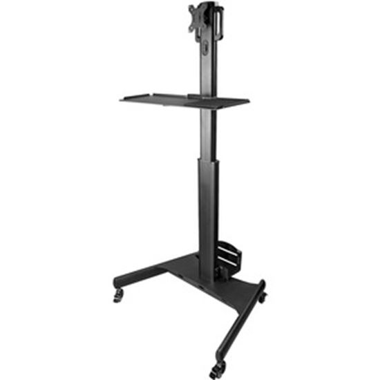 Picture of StarTech.com Mobile Standing Workstation with Monitor Mount, CPU/PC Holder, Height Adjustable Desktop Computer Cart, Standing Workstation